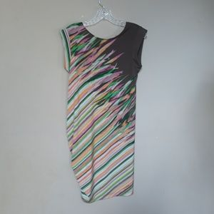 BCBGMaxAzria | Abstract Ruched Striped Dress